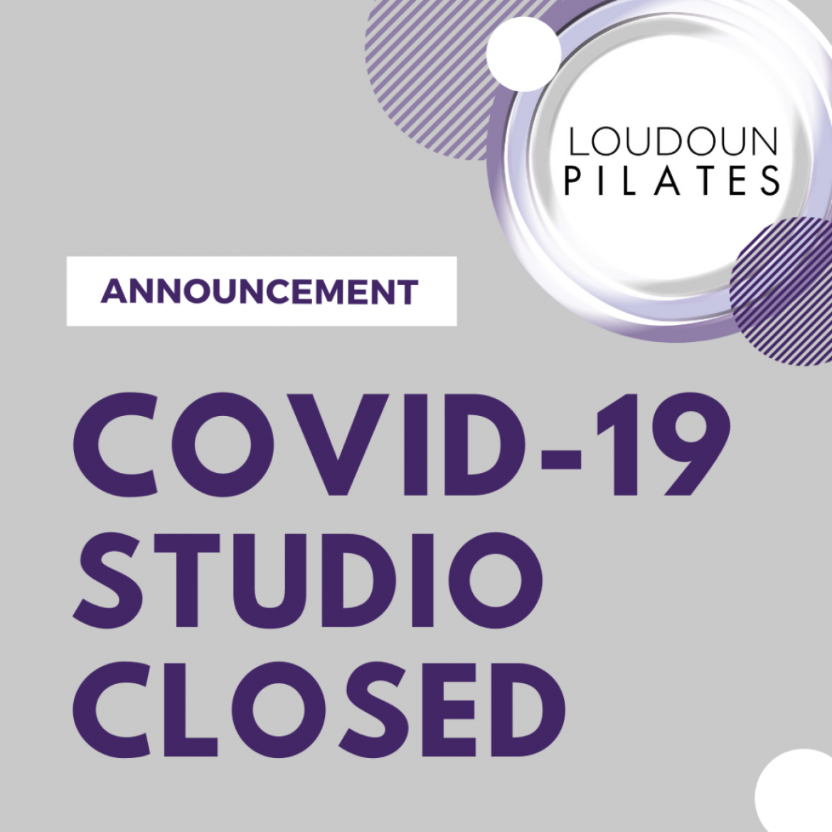 COVID-19: Studio Closed