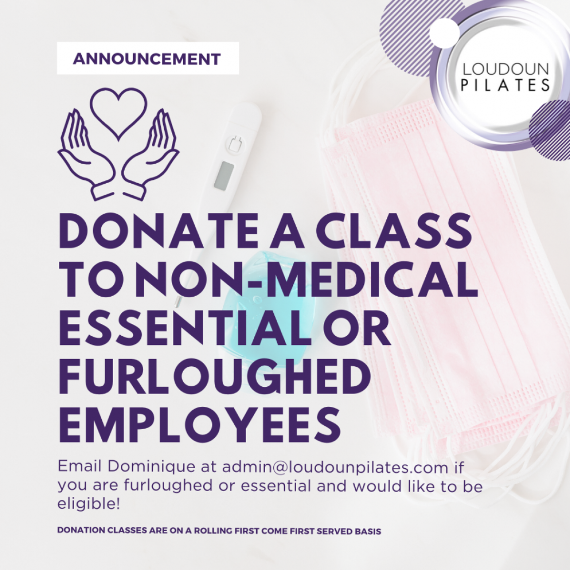 Donate a Class to an Essential or Furloughed Worker